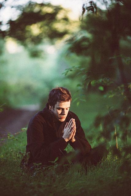 Man, Pray, Sit, Sitting, Praying, Grass, Field, Meadow