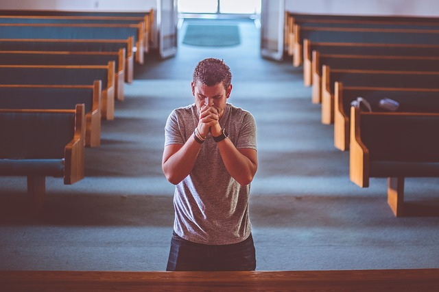 People, Man, Alone, Praying, Kneel, Down, Wooden, Bench