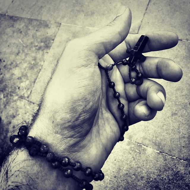 Rosary, Praying Hand, Black And White