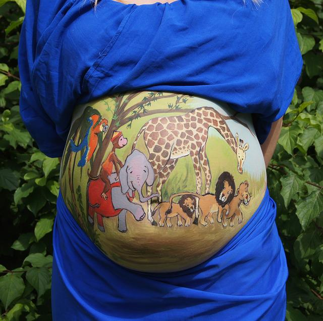 Belly Painting, Bellypaint, Jungle, Animals, Pregnant