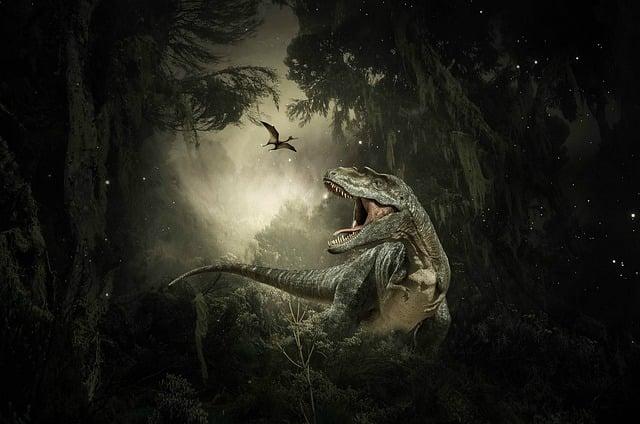 Dinosaurs, T-rex, Pterodactyl, Prehistoric, Trees