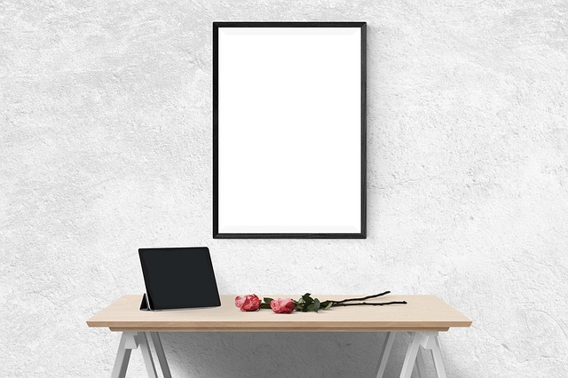 Poster, Mockup, Wall, Template, Presentation, Desk