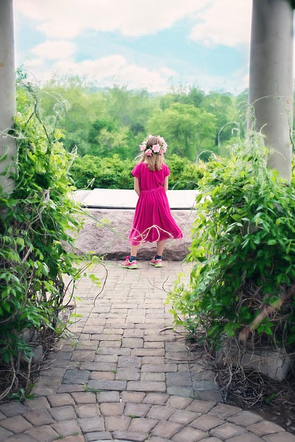 Little Girl, Summer, Pavilion, Outdoors, Pretty