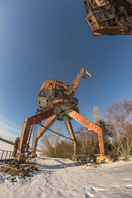 Crane, Construction, Pripyat, Chernobyl, Snow
