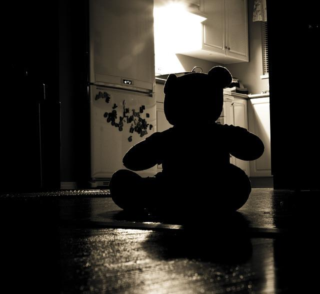 Teddy Bear, Silhouette, Evil, Night, Home, Problem