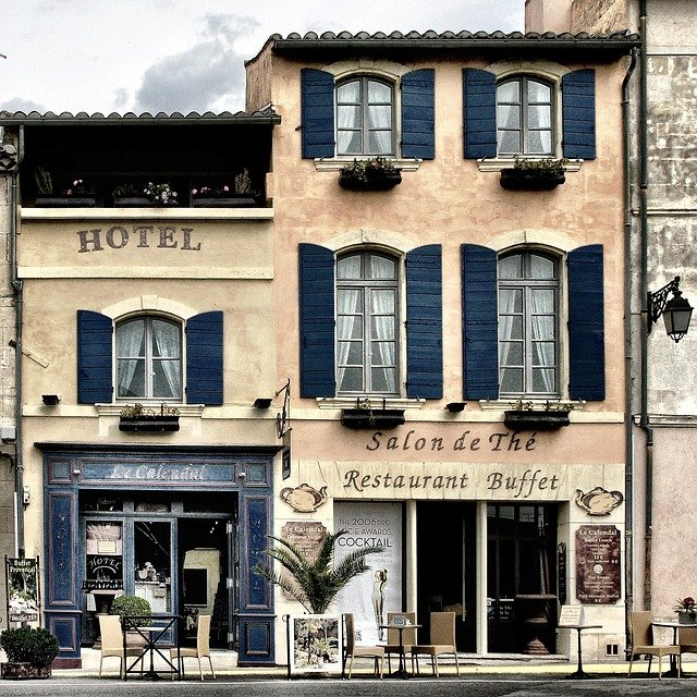 Building, House, Shops, Hotel, Street, Cafe, Provence