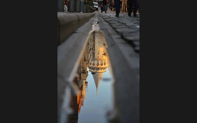 Istanbul, Puddle, Galata, Curb, Reflection