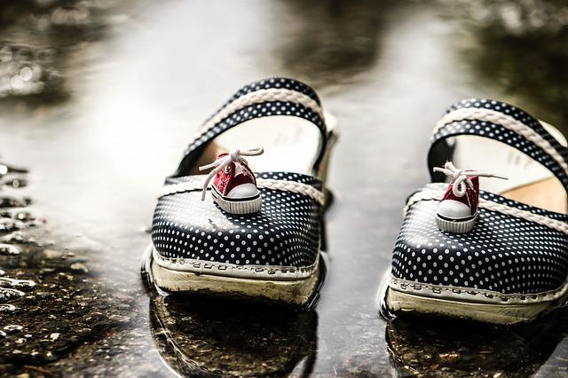 Clogs, Puddle, Footwear, Sneakers, Water, Summer