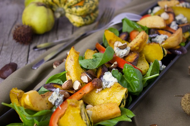 Salad, Pumpkin, Vegetables, Quince, Paprika, Spinach