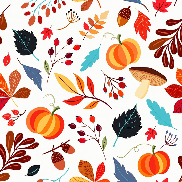 Autumn Pattern, Pumpkins, Autumn, Leaves, Pattern