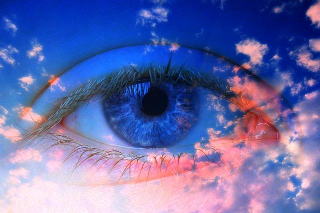Eye, Iris, Pupil, Eyeball, Eyelashes, Woman, Sky
