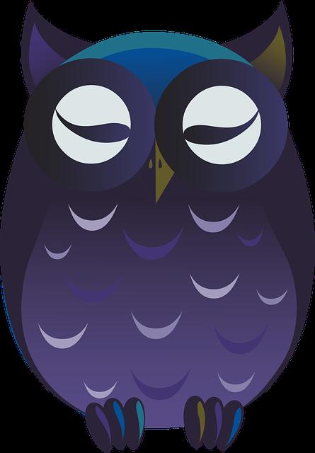 Owl, Purple, Cartoon, Cute, Perched, Bird, Wildlife