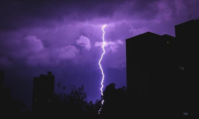 Cloudy Sky, Lighting, Lightning Strike, Purple, Rain