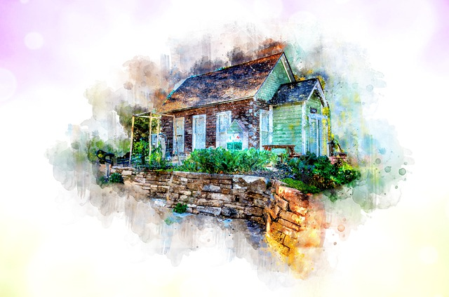 Home, House, Watercolor, Purple, Green, Estate, Real