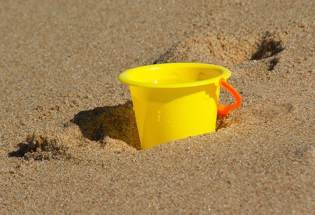 Beach, Bucket, Holiday, Sand, Pushover
