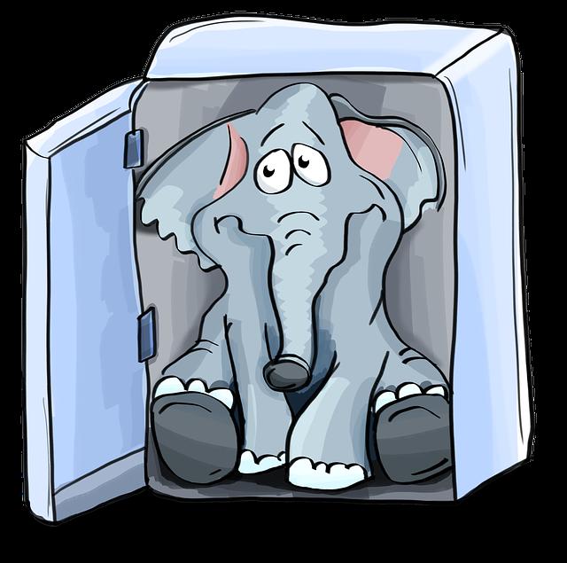 Elephant, Refrigerator, Sitting, Plant, Stick, Put
