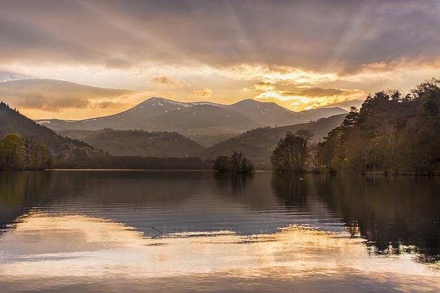 Sunset, Lake, Landscape, Auvergne, Puy-de-dome, Nature
