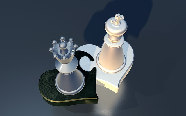 Puzzle, Chess, Figures, Lady, King, Pair, Heart, Love