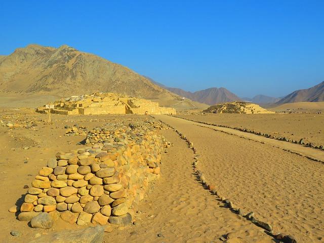Pyramid, Desert, Old Civilization, Caral, Peru