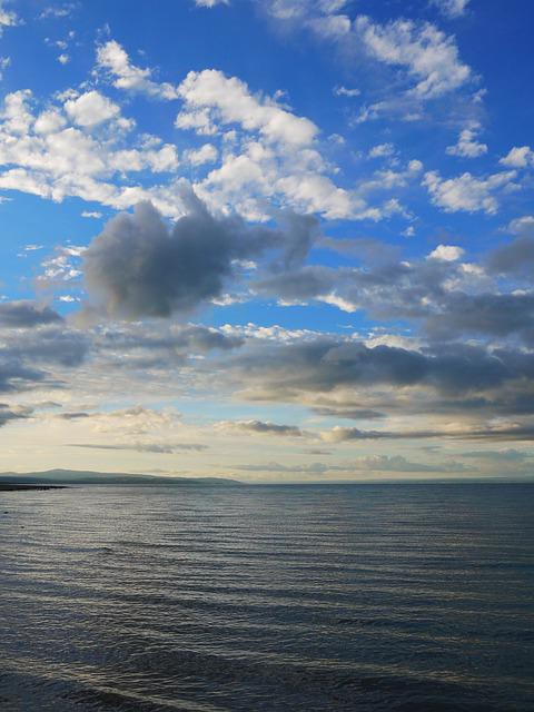 Huguangshanse, Blue Sky And White Clouds, Qinghai, Sea
