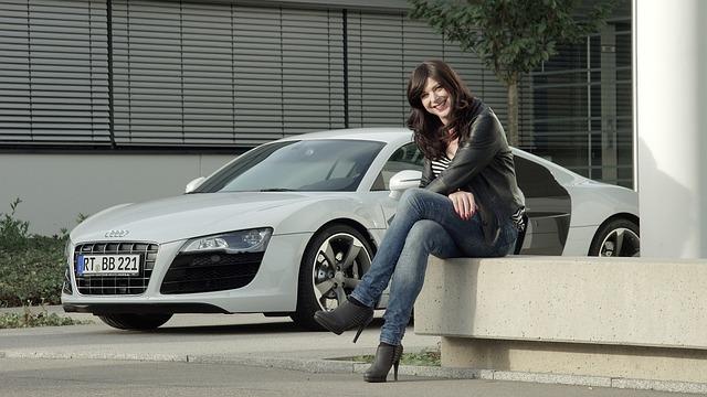 Business Woman, Audi, R8, V10, Sports Car, Supercar