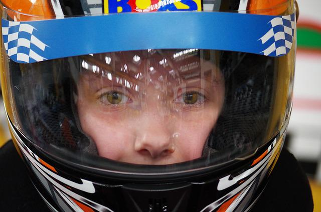 Go Karts, Race, Ride, Child, Helmet