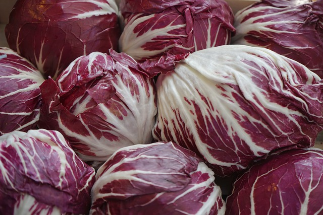 Radicchio, Salad, Red, White, Chicory, Market