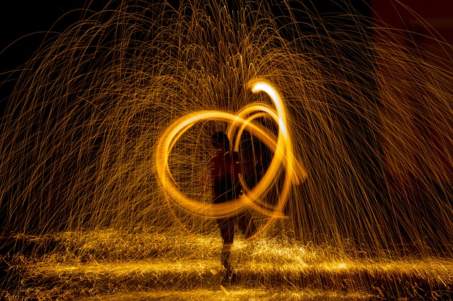Fire, Radio, Night, Show, Steel Wool, Light, Fireworks