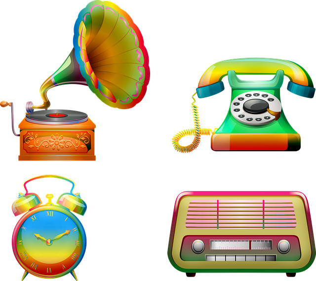 Retro Electronics, Gramophone, Radio, Telephone