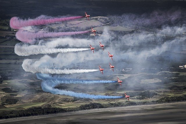 Red, Arrows, Raf, Jet, Plane, Air, Show, Newcastle