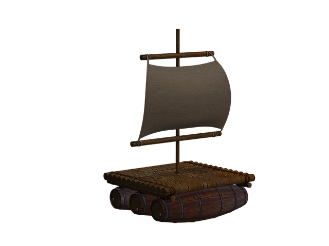Boot, Raft, Wood Raft, Sail, Isolated