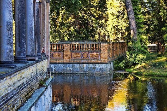 Columnar, Railing, Water, Park Sanssouci