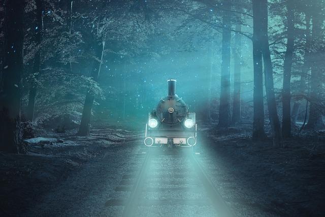Fantasy, Locomotive, Forest, Rails