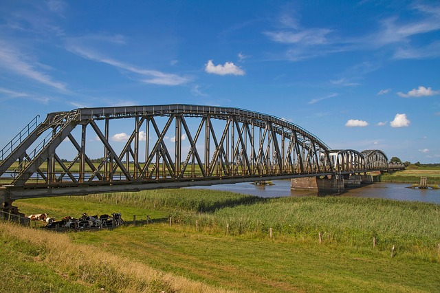 Railway Bridge, River, Eider, St Annen, Steel Structure