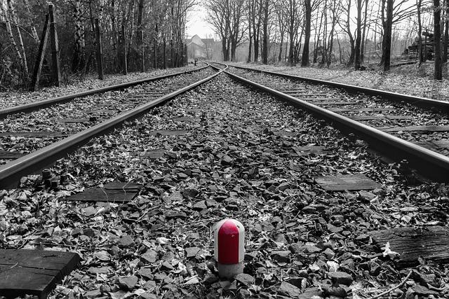 Railway Line, Railway, Black And White