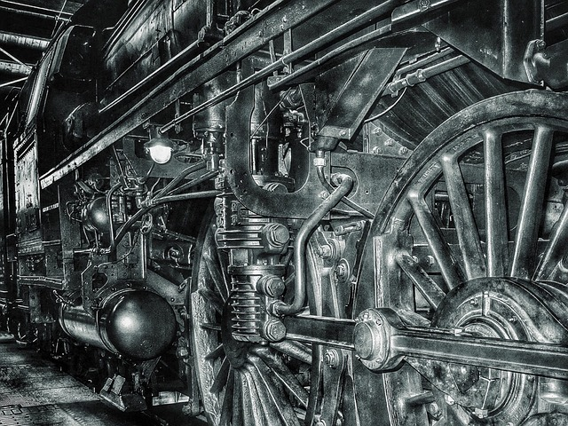 Railway, Black And White, Steam Locomotive, Locomotive