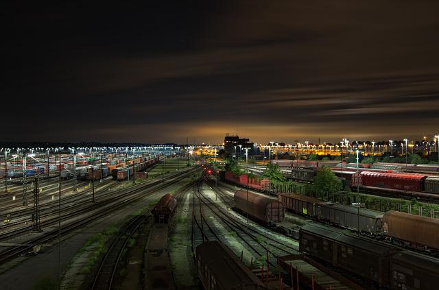 Railway Station, Freight Trains, Tracks