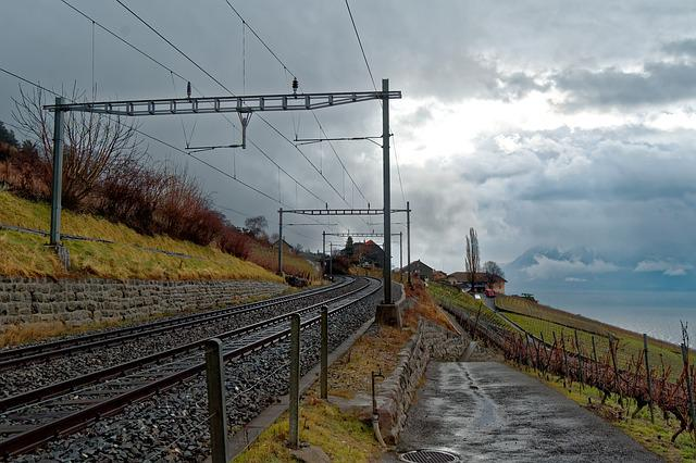 Switzerland, Vaud, Lavaux, Railway Line, Train, Railway