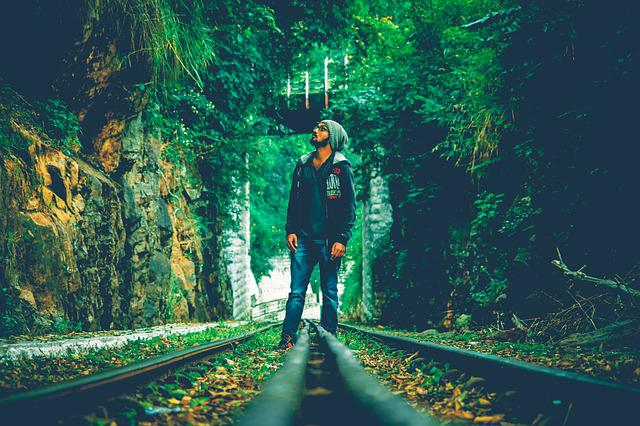 Woods, Forest, Railway Track, Man