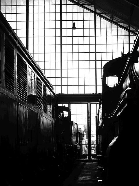 Train Station, Black And White, Railway, Train Wagon