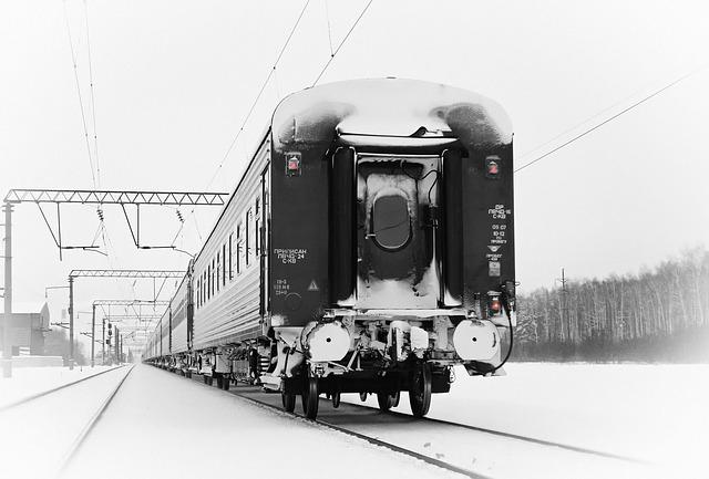 Train, Winter, Railway