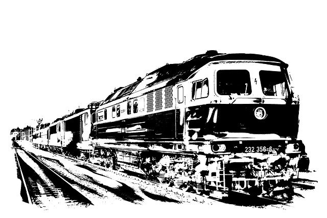 Diesel Locomotive, Monochrome, Railway, Transport