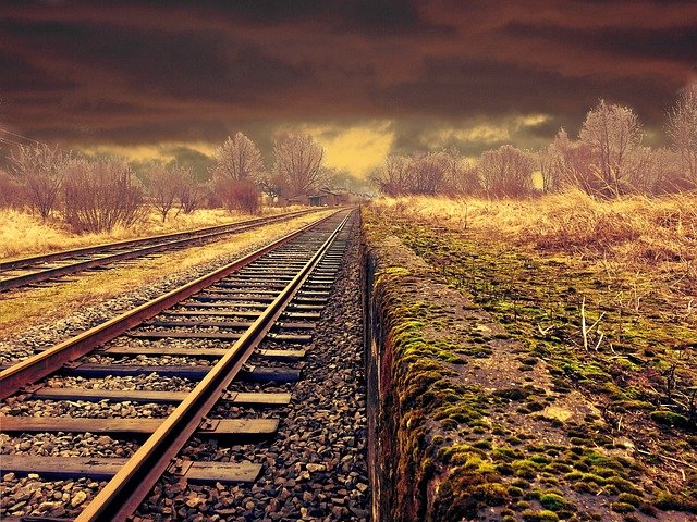 Railway, Landscape, Transportation, Weather, Moody