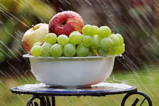 Bowl Of Fruit In Rain, Grapes, Apples, Bowl, Rain