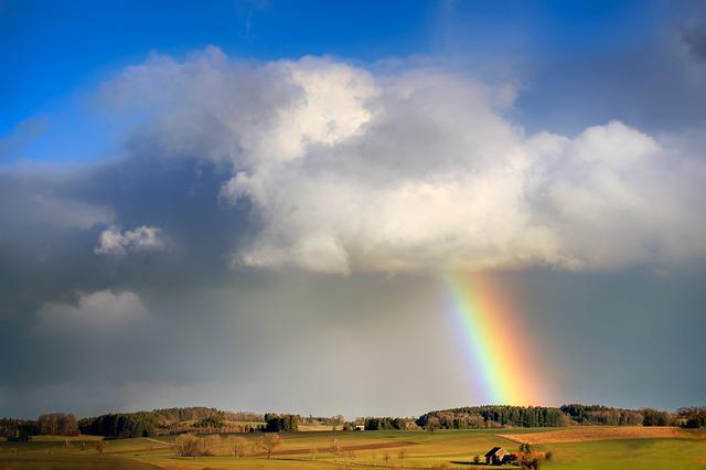 Rainbow, Cloud, Evening Sun, Rain, Landscape, Sky
