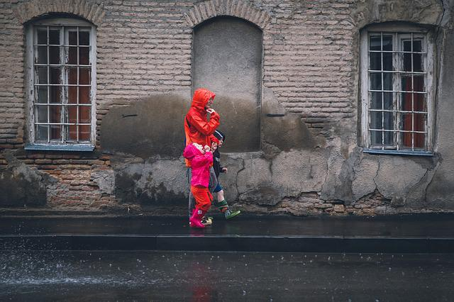 Rain, Raincoat, Portrait, Eople, Street, Kids, Color