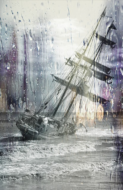 Sailing Ship, Stuck, Wrack, Stranded, Wet Lens, Rain