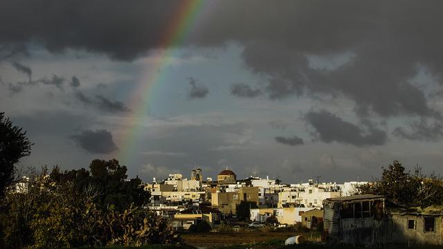 Rainbow, Storm, Town, Sky, Clouds, Paralimni, Cyprus