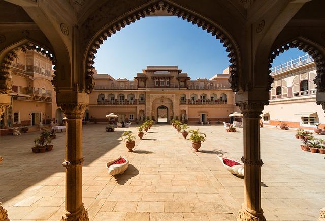 Architecture, Chomu-palace, Rajasthan, India