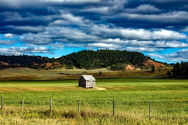Wyoming, Shed, Farm, Ranch, Mountains, Valley, Sky